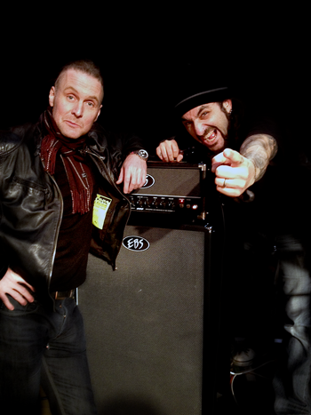 EBS Artist Jonas Reingold and Mike Portnoy with the EBS rig on the tour.