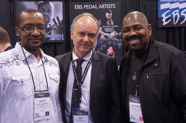 EBS Artist Nate Holleman, EBS CEO, Bo Engberg and Prince bass player Andrew Gouche.