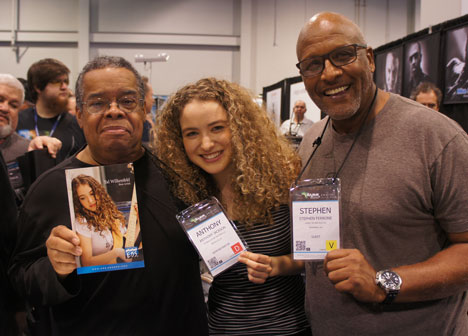 Tal Wilkenfeld surrounded by drummer legend Steve Ferrone (right) and bass legend Anthony Jackson (left).