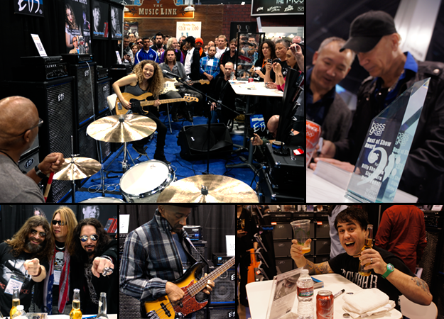 Top left: Tal Wilkenfeld play at the booth with Steve Ferrone and Owen Barry. Bottom left: Michael Devin, Marten Andersson and Bjorn Englen. Bottom middle: Marcus Miller. Top right: Billy Sheehan signing at EBS. Bottom right: Killswitch Engage's Mike D'Antonio signing.