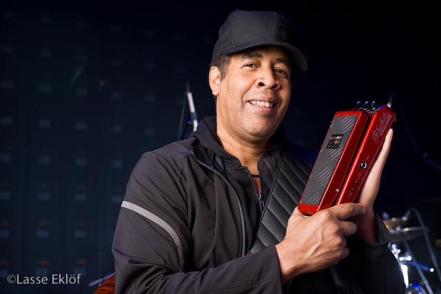 Stanley Clarke with his signature EBS Stanley Clarke Wah pedal