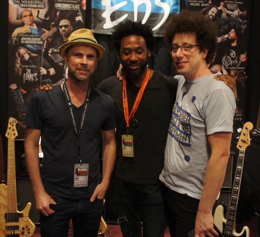 Ralf from EBS with EBS pedal artists Joel Whitley (Everlast, Stevie Wonder etc) and Justin Meldal-Johnsen (Beck, NIN etc)